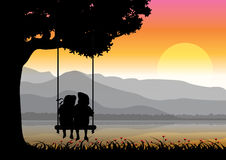 Vector illustration , girl and boy playing swings. Stock Photography