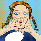 Vector illustration of girl calling for somebody, pop art style Royalty Free Stock Images