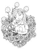 Vector illustration  girl child and puppy in flowers. Doodle drawing. Meditative exercise. Coloring book anti stress for Royalty Free Stock Photography