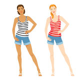 Vector illustration of girl in clothes for summer. On white background. Woman with different skin colors. Blue shorts of jeans fabric. Red striped shirt and Stock Images