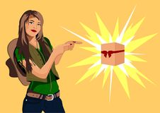 Vector illustration of a girl with a cowboy hat pointing a finger at a gift vector illustration