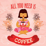 Vector illustration of girl with a cup of coffee Royalty Free Stock Photos