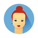 Vector illustration of girl with cute hair style Stock Image