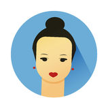 Vector illustration of girl with cute hair style Royalty Free Stock Photography