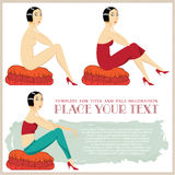 Vector illustration. Girl in different clothes, sitting on the ottoman Stock Photography