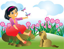 Vector illustration of girl and a dog Stock Image