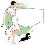 Vector illustration. Girl with a dog for a walk. Royalty Free Stock Photography