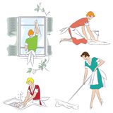Vector illustration. Girl doing housework in the apartment. Stock Images