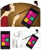 Vector illustration. Girl doing selfie. Stock Image