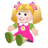 Vector illustration of girl doll. Blonde girl doll toy in colorful dress on white background Royalty Free Stock Image