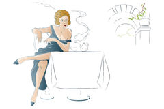 Vector illustration - Girl drinks tea at a cafe table Stock Images