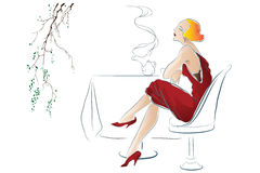 Vector illustration - Girl drinks tea at a cafe table Royalty Free Stock Images