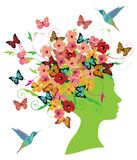 Vector Spring Woman With Flowers, Butterflies and Birds. Vector illustration of girl fashion design with flowers and butterflies. spring or summer concept Royalty Free Stock Photo