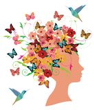Vector Spring Woman With Flowers, Butterflies and Birds. Vector illustration of girl fashion design with flowers and butterflies. spring or summer concept Stock Image