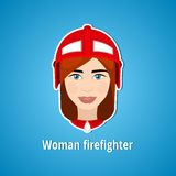 Vector illustration of a girl firefighter. Woman firefighter. Icon. Flat icon. Minimalism. The stylized girl. Occupation. Job. Stock Images