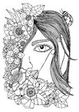 Vector illustration  girl in the floral frame. Doodle drawing. Meditative exercise. Coloring book anti stress for adults Royalty Free Stock Image