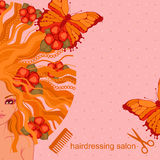 Vector illustration of the girl with flowers and butterflies Stock Images