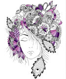 Vector illustration girl with flowers and zentangle snail on her head. Royalty Free Stock Images