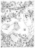 Vector illustration of a girl with freckles zentangl hugging dog fox terrier. Doodle flowers, frame, forest, garden Royalty Free Stock Image