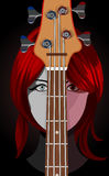 Vector illustration of girl with guitar Royalty Free Stock Photo