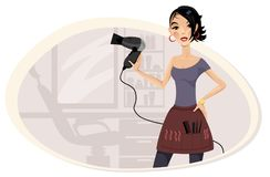 Girl hairdresser in the workplace. Vector illustration of a girl hairdresser in the workplace vector illustration