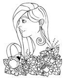 Vector illustration  girl and headphones in the flowers. Doodle drawing. Meditative exercise. Coloring book anti stress Stock Photography