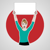 Vector illustration of girl holds a banner on top of her headand smiling on a background of red circle, keeps banner Royalty Free Stock Image