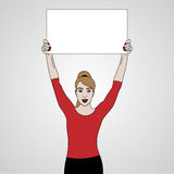 Vector illustration of girl holds a banner on top of her headand smiling in red shirt, keeps banner Royalty Free Stock Photos