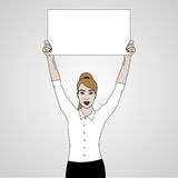 Vector illustration of girl holds a banner on top of her headand smiling in white shirt, keeps banner Stock Images