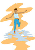 Vector Illustration of a girl jumping in the puddle Royalty Free Stock Photography