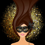 Girl with mask. Vector illustration of girl with mask Royalty Free Stock Images