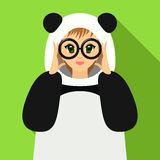 Vector illustration girl in panda suit holding eyeglasses Stock Photography