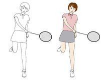 Vector illustration, Girl playing badminton Royalty Free Stock Image