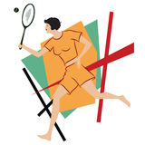 Vector illustration. Girl playing tennis Stock Photos