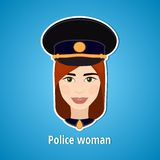 Vector illustration of a girl police. Woman police. The girl's face. Icon. Flat icon. Minimalism. The stylized girl. Occupation. Royalty Free Stock Image