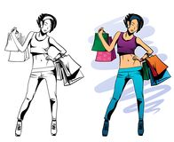 Girl with purchases vector illustration