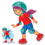 Vector illustration of girl rolls on roller skates Stock Images