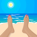 Vector illustration of girl's feet on the beach Royalty Free Stock Photo
