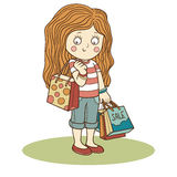 Vector illustration: girl and shopping bags Royalty Free Stock Image