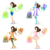 Vector illustration girl in Shopping Day set Royalty Free Stock Images
