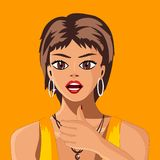 The girl with short hair on a yellow background shows the gesture everything is fine. Vector illustration. The girl with short hair on a yellow background shows Royalty Free Stock Photos