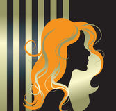Vector illustration of girl silhouette stock photography