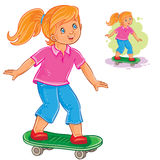 Vector illustration of girl skateboarding Stock Photos