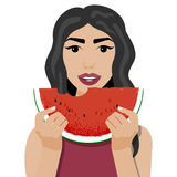Vector illustration of girl with slice of watermelon royalty free illustration