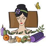 Vector illustration. Girl at the spa procedures enjoys the proce. Ss. Body care, health, massage, relaxation Royalty Free Stock Photo