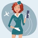 Vector illustration of girl in stewardess uniform Stock Photos