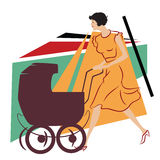Vector illustration. Girl with a stroller for a walk Stock Images