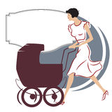 Vector illustration. Girl with a stroller for a walk Stock Photos