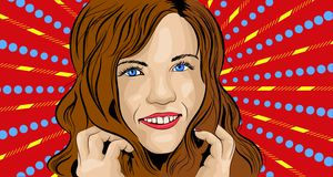 Vector illustration of girl in style pop art royalty free illustration