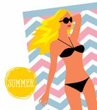Vector illustration Girl in sunglasses and swimsuit Stock Photography
